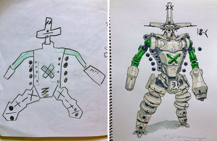 father and son drawing anime-characters-thomas-romain
